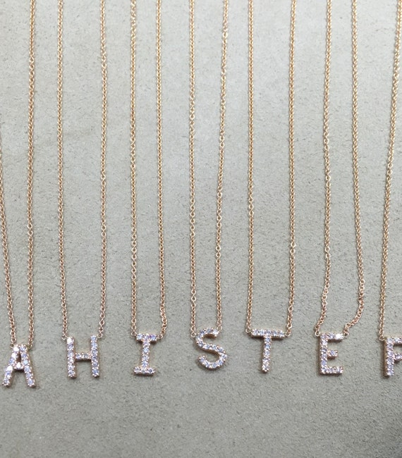 14K Gold Diamond Initial Necklace Initial Necklace Fashion Necklace Right Hand Ring Alphabet Necklace Alphabet Necklace Stackable Necklace