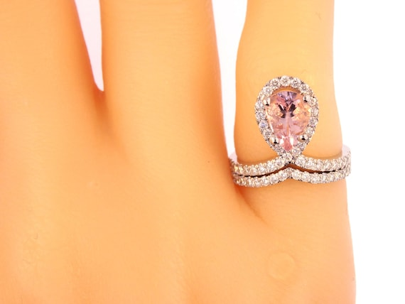 14K White Gold Natural Pear Shape Morganite Diamond Halo Engagement Set Wedding Set Engagement Set Anniversary Set  Yellow Gold Rose Gold
