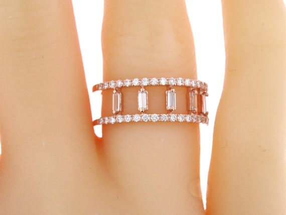 14K Rose Gold Baguette and Round Brilliant Diamond Band Art Deco Antique Promise Ring Anniversary Band Wedding Band Yellow Gold White Gold