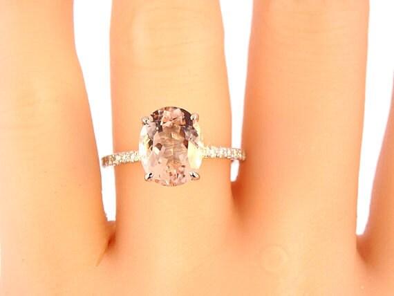 14K White Gold Diamond and Oval Shape Morganite Engagement Ring - SJ1516OVMO