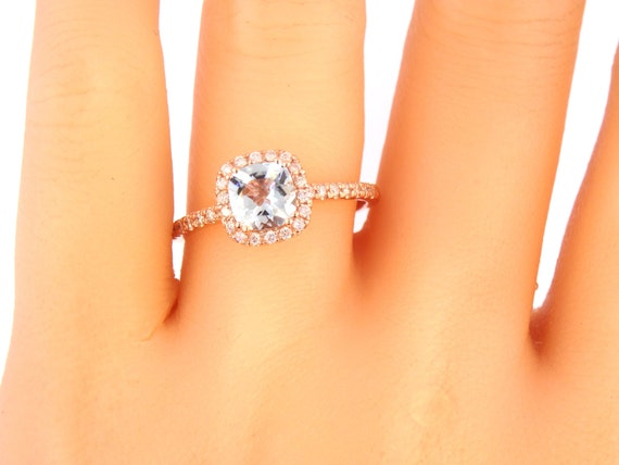 14K Rose Gold Cushion Cut Aquamarine Diamond Halo Engagement Ring Wedding Ring Anniversary Ring Promise Ring Solitaire Ring Alternative Ring