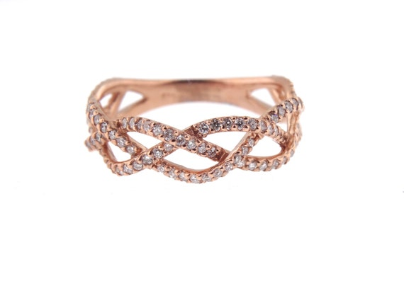 14K Rose Gold Diamond Infinity Band Criss Cross Band Stackable Band Anniversary Band Wedding Band Engagement Band Yellow Gold White Gold 18K