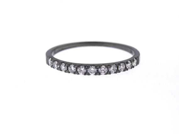 14K Black Gold White Diamond Half Eternity Band Prong Set Wedding Band Engagement Ring Promise Ring Stackable Band Art White Gold Yellow 18K