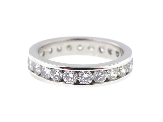 14K White Gold Round Brilliant Eternity Diamond Band Anniversary Wedding Band Stackable Band Promise Ring Rose Gold Yellow Gold Platinum 18K