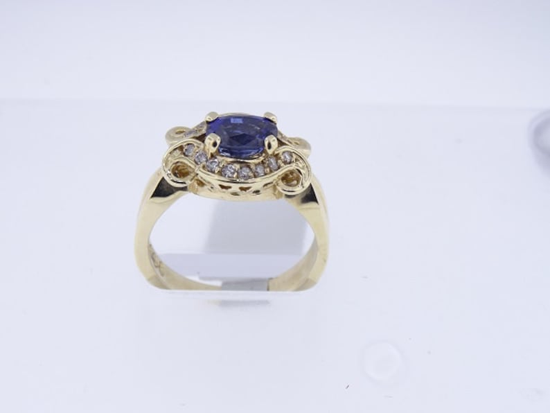 14K Yellow Gold Natural Sapphire and Diamond Ring Art Deco image 0