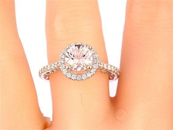 14K White Gold Round Brilliant Morganite & Diamond Halo Engagement Ring Wedding Ring Antique Ring Art Deco Ring Anniversary Ring Yellow Rose