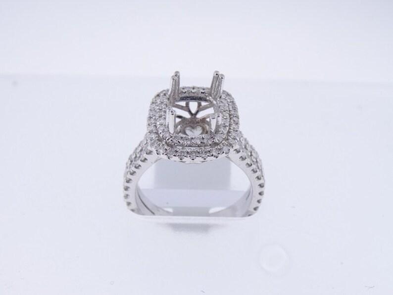 14K White Gold Diamond Double Halo Engagement Ring Wedding image 0