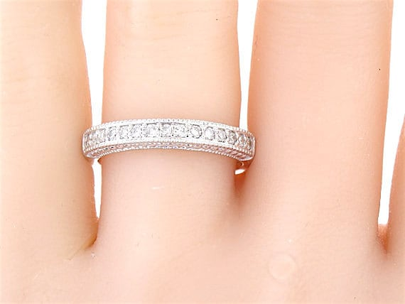 14K White Gold Prong Set Art Deco Diamond Band Wedding Band Anniversary Band Promise Ring Antique Ring Stackable Band Yellow Gold Rose Gold