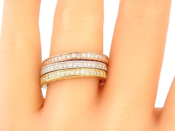 14K Tri Color Diamond Wedding Band Art Deco Band Antique Band Engagement Band Stackable Band Anniversary Rose Gold Yellow Gold White Gold