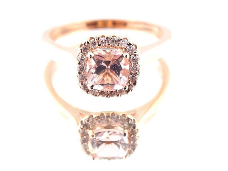 14K Rose Gold Diamond and Natural Morganite Halo Engagement image 1
