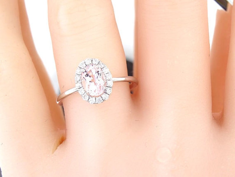 14K White Gold Diamond and Natural Morganite Halo Engagement image 0