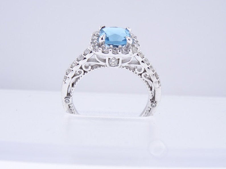 14K White Gold Natural Blue Topaz Diamond Halo Ring Engagement image 0