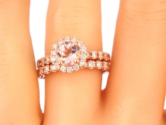 14K Rose Gold Diamond Halo & Round Brillaint Morganite Wedding Set Engagement Ring Wedding Ring Split Shack Yellow Gold White Gold Platinum