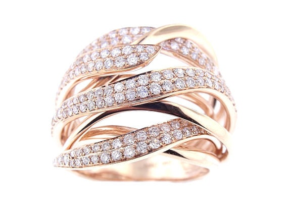 14K Rose Gold Fashionable Diamond Band Art Deco Design Antique Design Stackable Band Anniversary Ring Yellow Gold White Gold
