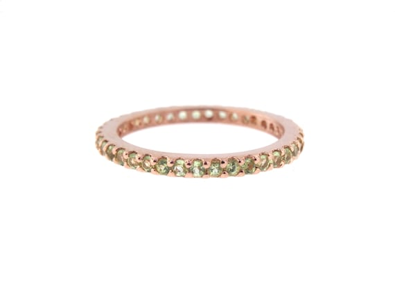 14K Rose Gold Full Eternity Natural Peridot Prong Set Band Birthstone Band Stackable Band Promise Ring Anniversary Yellow Gold White Gold