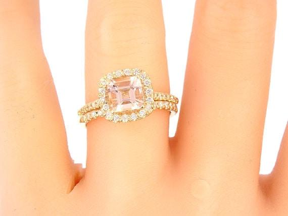 14K Yellow Gold Diamond & Cushion Cut Morganite Wedding Set Engagement Ring Wedding Ring Promise Ring Classic Halo Art Deco Antique White