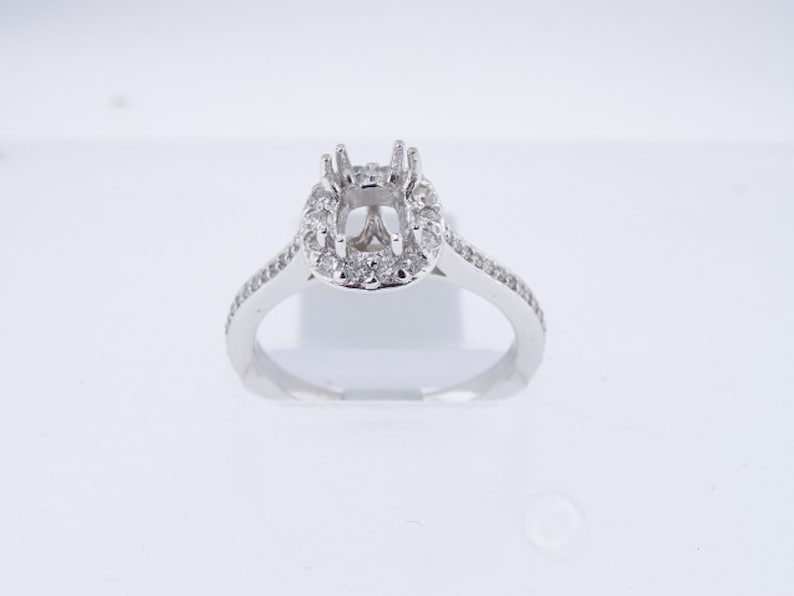 14K White Gold Diamond Halo Engagement Ring Art Deco Antique image 0