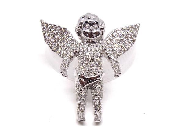 14K White Gold Diamond Angel Pendant Fashion Jewelry Custom Work Religious Pendant 1.20 Carats Diamond Rose Gold Yellow Gold 18K Platinum