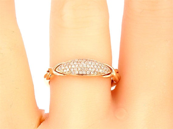 14K Rose Gold Pave Diamond Band Anniversary Band Wedding Band Engagement Ring Stackable Band Art Deco Band Infinity Band Antique Band White