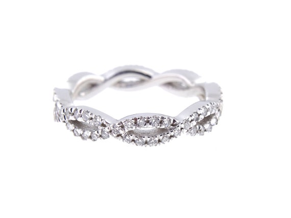 14K White Gold Diamond Infinity Eternity Band Criss Cross Band Stackable Band Anniversary Band Wedding Band Engagement Yellow Gold Rose Gold