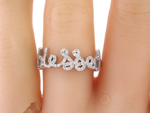 14K White Gold Diamond BLESSED Band Right Hand Ring Fashion Jewelry Stackable Band Blessed Ring Yellow Gold Rose Gold Promise Ring Band 18K