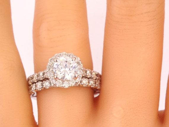 14K White Gold Round Halo Diamond 2.00 Carats Wedding Set Bridal Set Wedding Ring Stackable Antique Design Art Deco Design Rose Gold Yellow