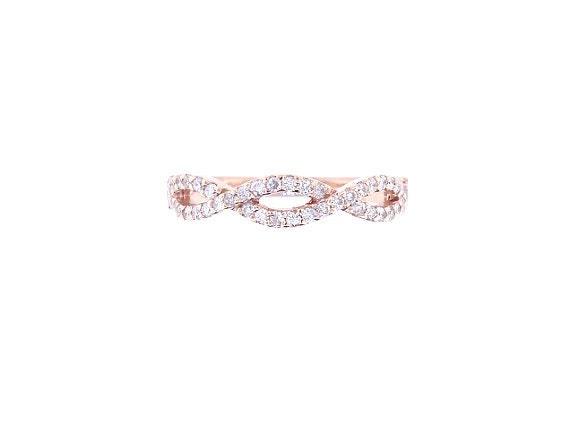 14K Rose Gold Diamond Infinity Band Trendy Ring Criss Cross Band Promise Ring Wedding Ring Anniversary Ring White Gold Prong Set Wedding