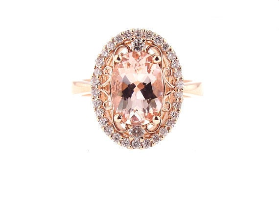 14 Karat Rose Gold Diamond and Natural Oval Shape Morganite Halo Engagement Ring Wedding Ring Antique Ring Art Deco Ring Halo Ring Promise