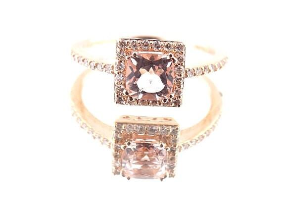 14K Rose Gold Diamond and Natural Morganite Halo Engagement Ring - SJ1076CUMOR