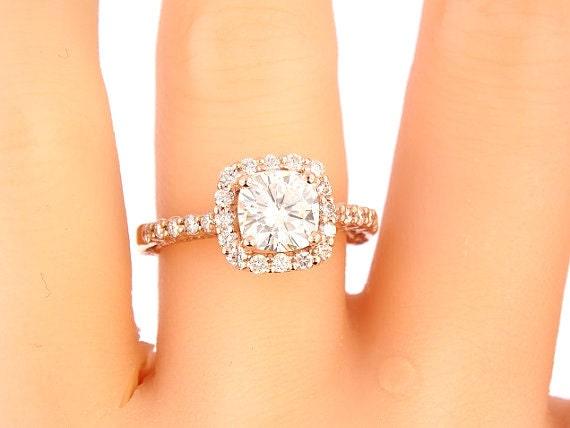 14K Rose Gold Diamond Halo w/ 6.5MM Cushion Cut Forever Brilliant Moissanite Engagement Ring Wedding Ring Art Deco Antique Ring Yellow White