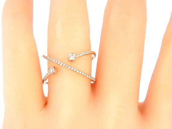 14K White Gold Diamond Band Criss Cross Ring Criss Cross Band Infinity Band Stackable Band Right Hand RIng Fashion Yellow Gold White Gold
