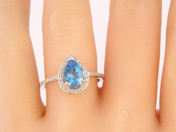 14K White Gold Diamond Pear Shape Blue Topaz Halo Engagement Ring Anniversary Ring Promise Ring Wedding Ring Art Deco Style Antique Style
