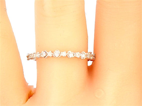 14K White Gold Diamond Band Wedding Band Anniversary Band Engagement Ring Promise Ring Stackable Band Right Hand Ring Yellow Gold Rose Gold