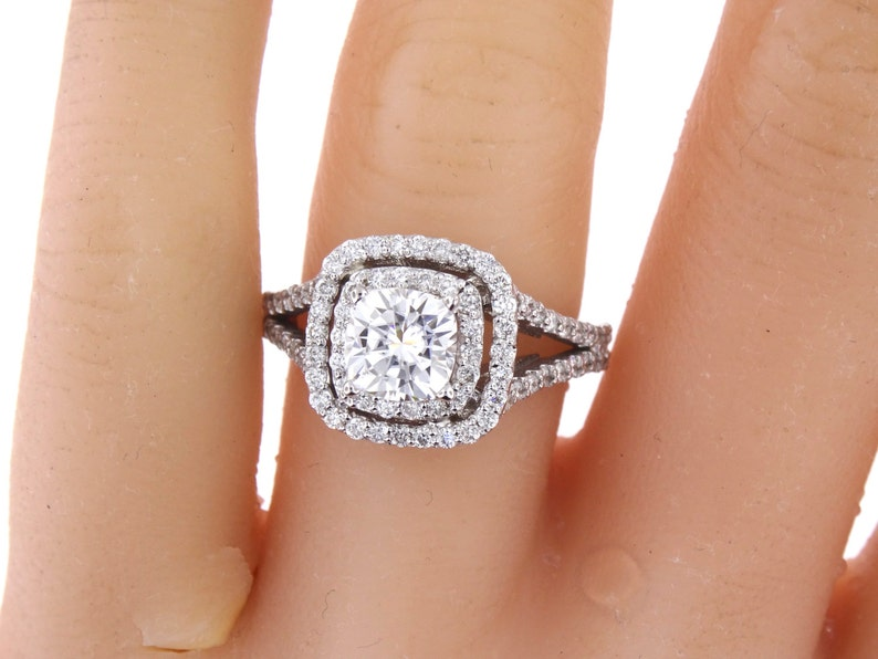 064a128980686d 14K White Gold Diamond Double Halo 2.00 Carat Cushion Cut | Etsy