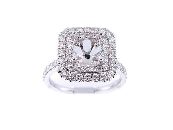 18K White Gold Diamond Double Halo Engagement Ring 1.00 Carats Wedding Ring Double Halo Ring Round Cushion Halo Ring Rose Gold Yellow Gold
