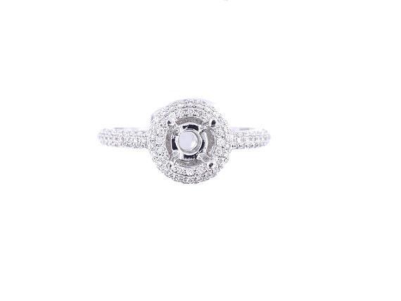 18K White Gold Diamond Round Halo Engagement Ring - SJ2584RHER
