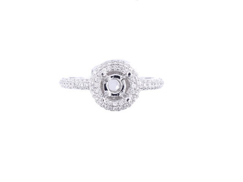 18K White Gold Diamond Round Halo Engagement Ring  SJ2584RHER image 0