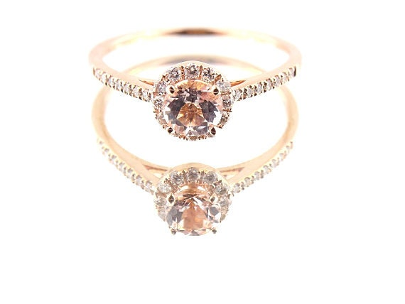 14K Rose Gold Diamond and Natural Morganite Halo Engagement Ring Wedding Ring Classic Solitaire Ring Yellow Gold White Gold Antique Design