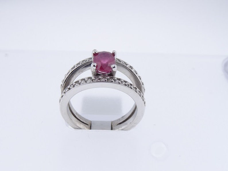 14K White Gold Natural Ruby and Diamond Ring Art Deco Antique image 0