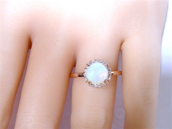 14K Rose Gold Natural Opal and Diamond Halo Ring Antique Art Deco Solitare Engagement Ring Wedding Ring Promise White Gold Yellow Gold 18K