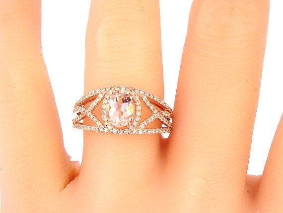 14K Rose Diamond & Oval Shape Morganite Engagement Ring Wedding Ring Art Deco Antique Ring Promise Ring Infinity Design Yellow White Gold