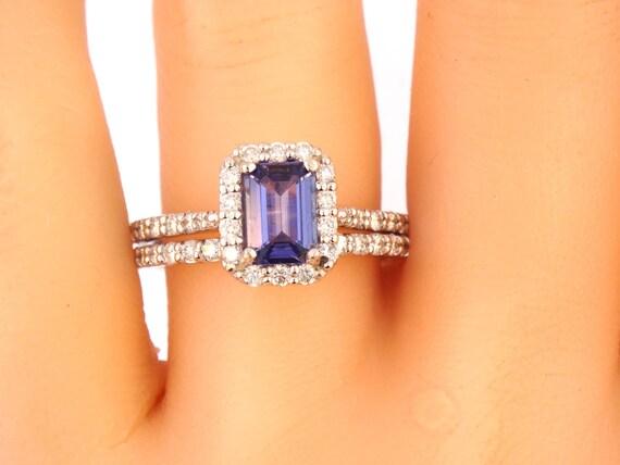 14K White Gold Emerald Cut Tanzanite Diamond Engagement Set Wedding Set Anniversary Ring Promise Ring Art Deco Antique Yellow Gold White