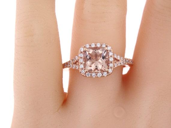 14 Karat Rose Gold Diamond & Natural Cushion Cut Morganite Wedding Ring Antique Ring Art Deco Ring Engagment Ring White Gold Yellow Gold 18K