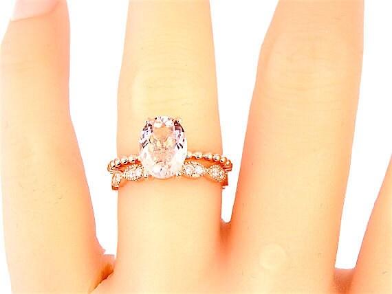 14 Karat Rose Gold Diamond Oval Shape Morganite Wedding Set Wedding Ring Engagment Ring Promise Ring Anniversary Ring White Gold Yellow Gold