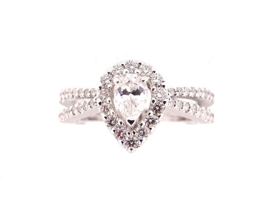 14K White Gold Diamond Halo Ring Pear Shape Art Deco Antique Engagement Ring Wedding Ring X Criss Cross Split Shack Rose Gold Yellow Gold