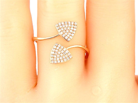14K Rose Gold Diamond Pave Band Wedding Band Anniversary Band Engagement Band Stackable Band Art Deco Band Antique White Gold Yellow Gold