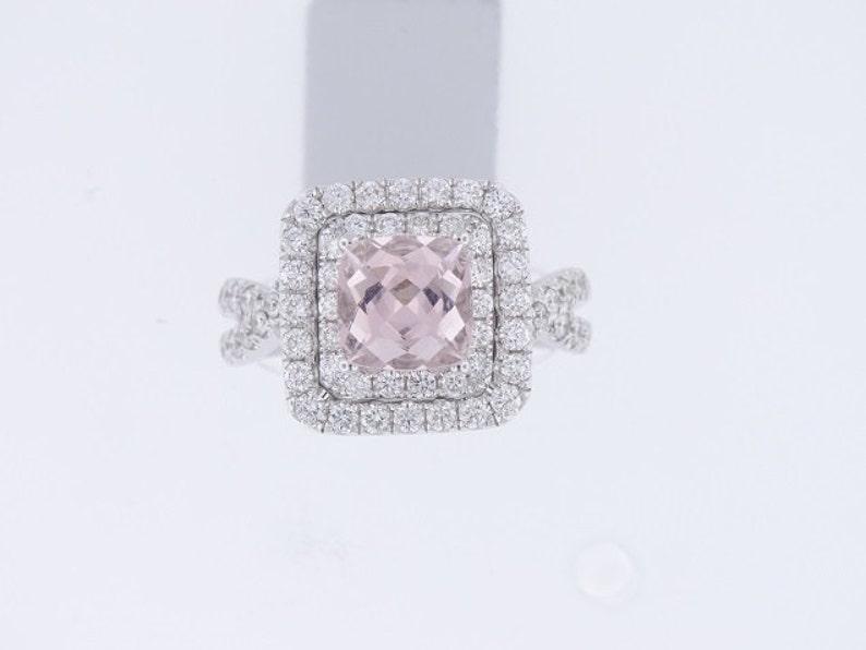 18K White Gold Cushion Cut Natural Morganite Diamond image 0