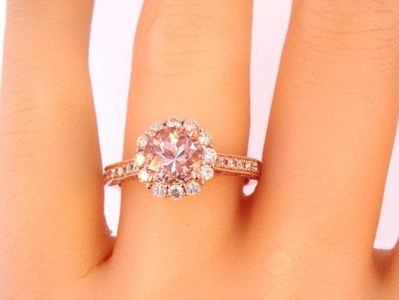 14K Rose Gold Diamond Round Morganite Engagement Ring Wedding Ring Art Deco Ring Antique Ring Promise Ring Pave Ring Yellow Gold White Gold