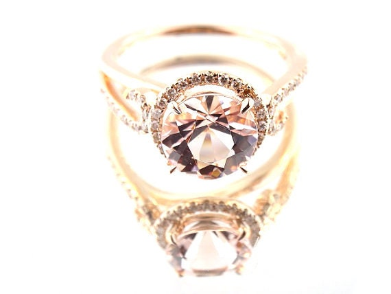 14K Rose Gold Diamond and Natural Morganite Halo Engagement Ring Wedding Ring Art Deco Design Antique Design Classic Halo Yellow White Gold