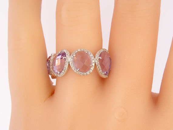 14 Karat White Gold Diamond and Amethyst Halo Band Fashion Ring Stackable Band Art Deco Antique Ring